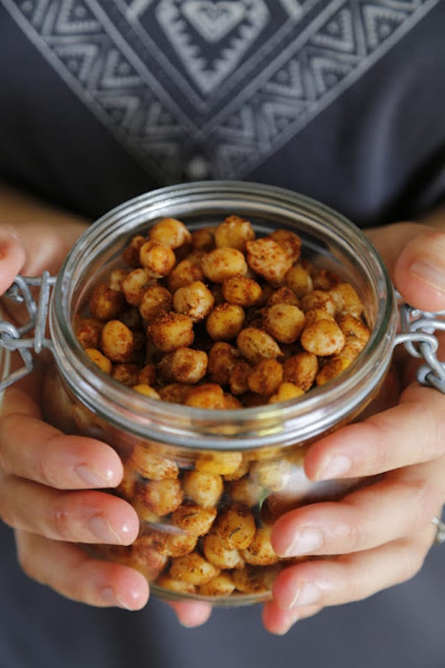 for lovely nibbles: chickpeas rolled in spices and roasted in the oven ...