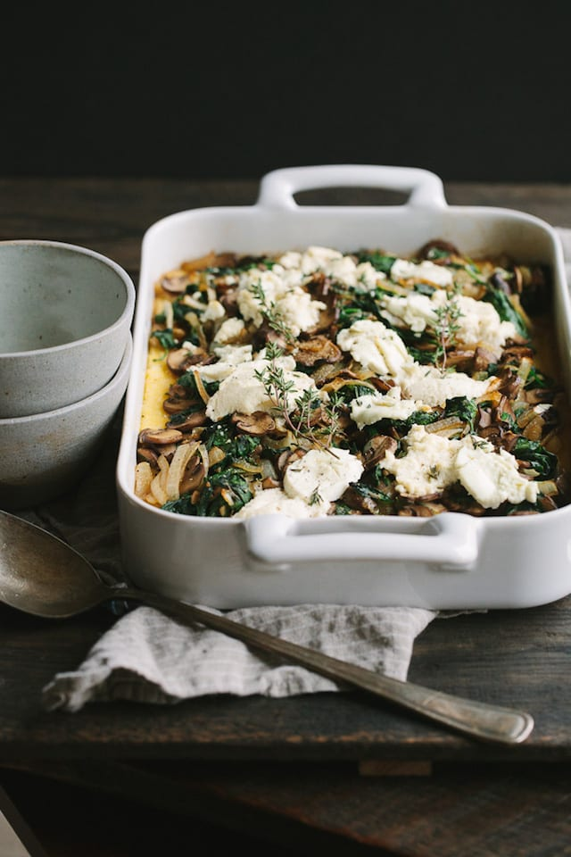 Cheese and Mushroom Polenta Bake with Greens and Caramelized Onions