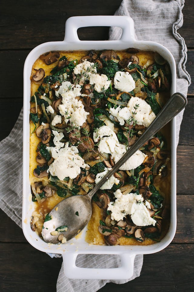 Cheese and mushroom polenta bake with greens and caramelized onions honest cooking - Baked polenta cheese recipes ...