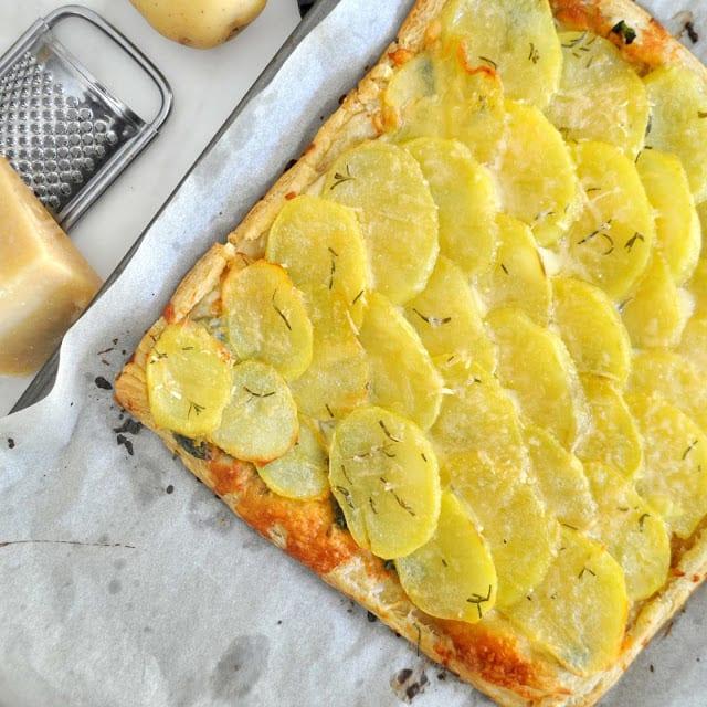 Buttery Potato Spinach Tart