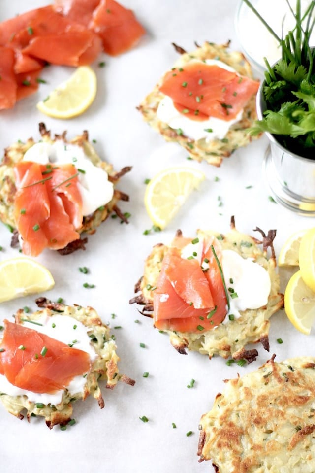 Smoked Salmon and Yogurt on Baked Potato Pancakes