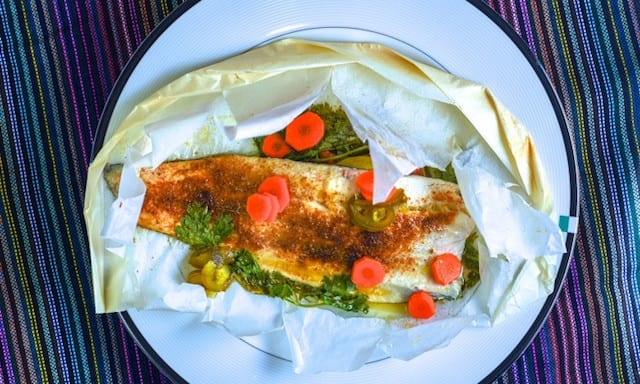 Lime Trout Cooked in Parchment Paper