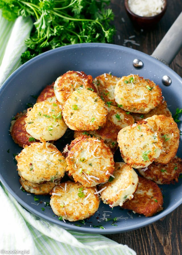 with a yogurt or sour cream sauce, these crispy potato and parmesan ...