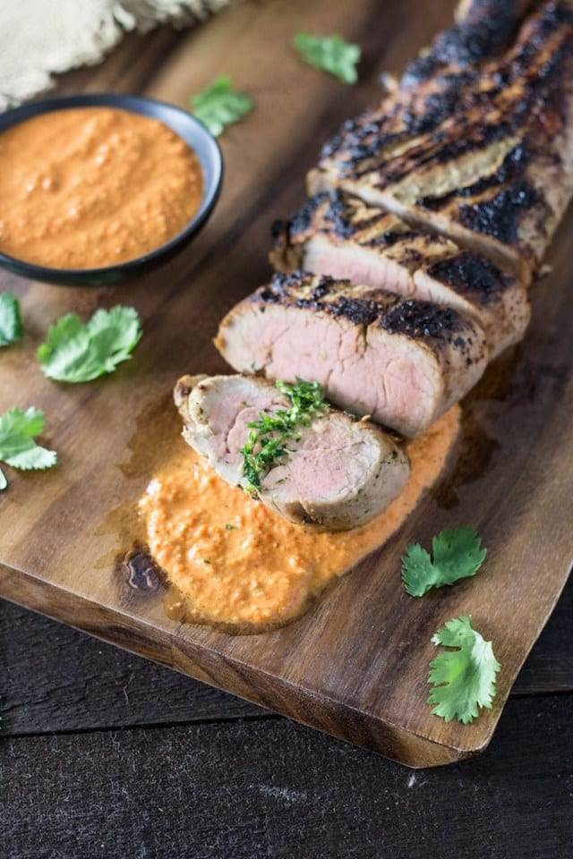 Cilantro Marinated Pork with Romesco Sauce