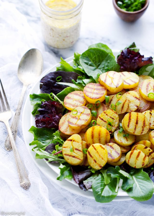 Grilled Potato Salad and Feta Dressing