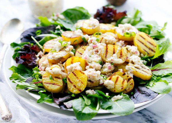 Grilled Potato Salad and Feta Dressing