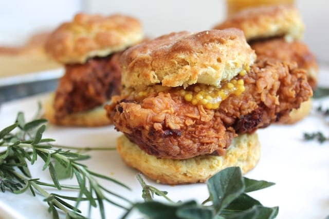 Apricot Mustard and Fried Chicken Biscuits