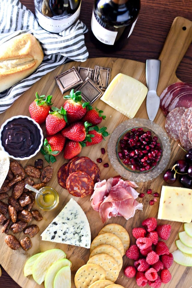 An Epic Valentine's Day Cheese and Chocolate Board