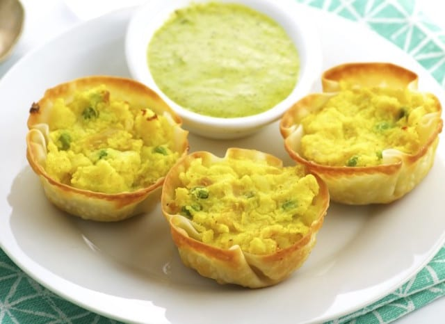 Potato Bites and Cilantro Sauce
