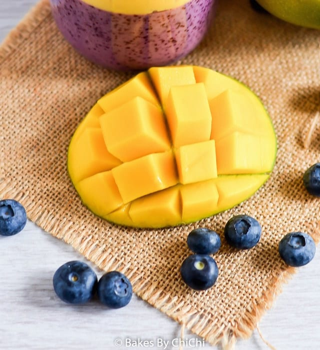 Mango Blueberry and Soy Breakfast Smoothie2