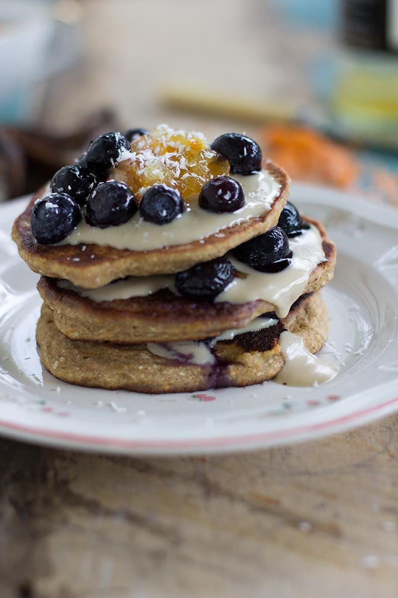 Vegan Pancakes and Chocolate Tahini Sauce with Blueberries2