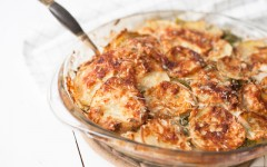 Winter Potato Gratin with Kale and Apples