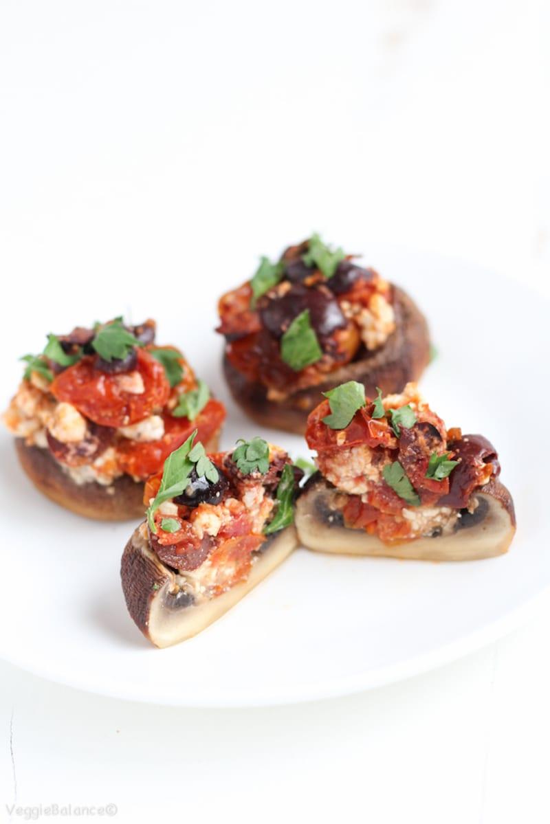 Feta and Tomato Roasted Stuffed Mushrooms – Honest Cooking
