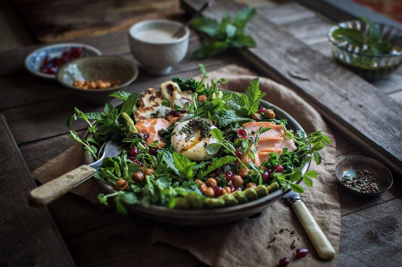 Smoked Trout Kale Salad with Halloumi and Tahini Dressing – Honest ...