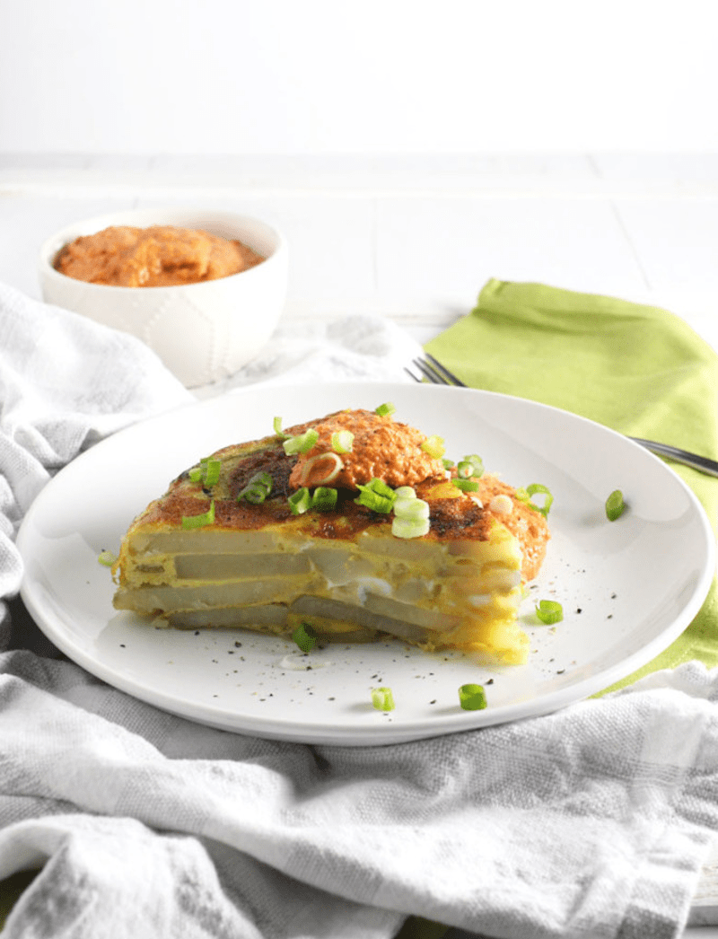 Tortilla Española with Red Pepper Sauce