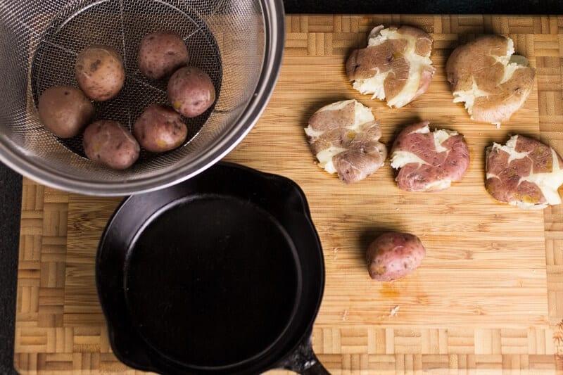 Smashed Potatoes with Feta Cream