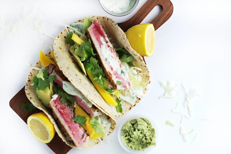 Tuna Tacos with Wasabi-Cilantro Aioli – Honest Cooking