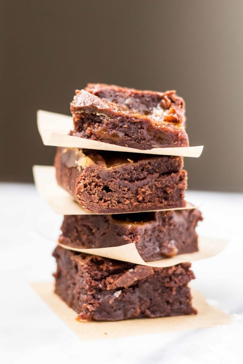 Gooey Salted Caramel Brownies