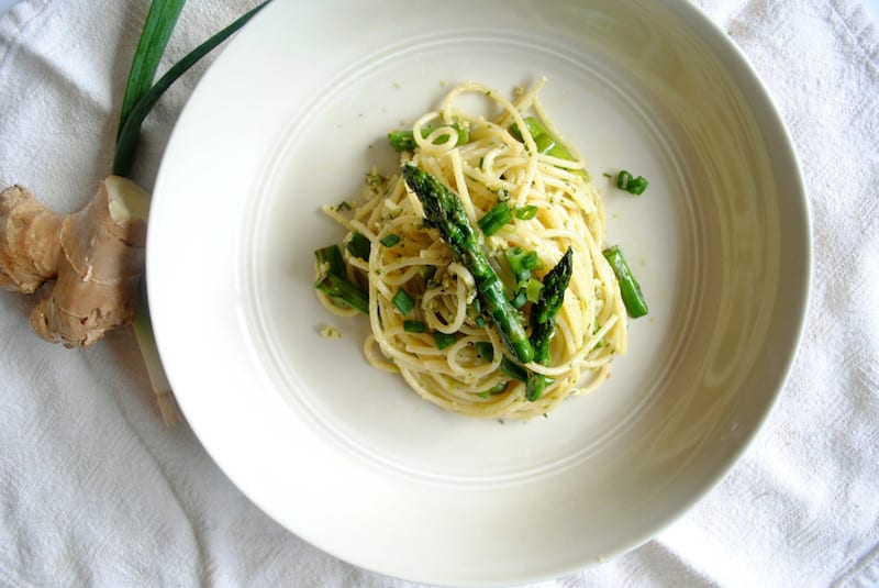 Pesto Pasta with Scallions, Ginger and Asparagus2