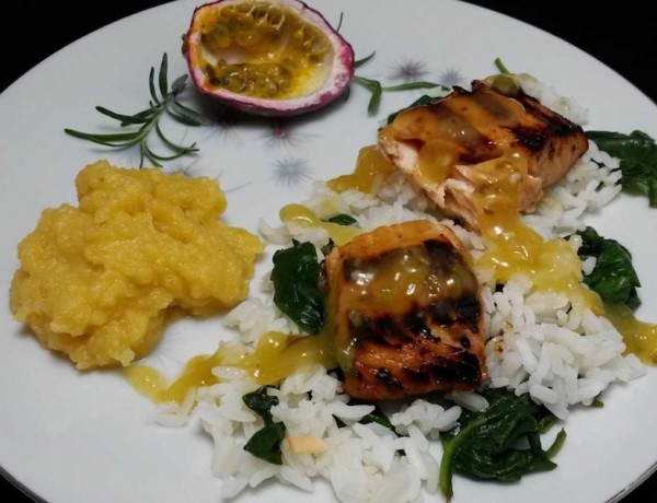 Leek and Passionfruit Grilled Salmon