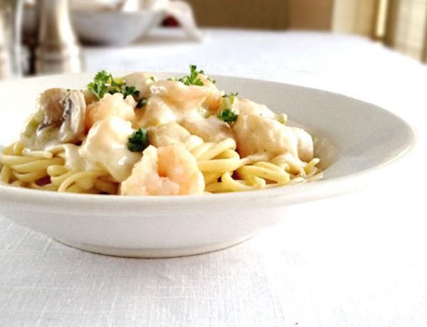 Seafood and Mushroom Linguine