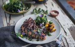 Grilled Indian Spiced Pork with Foraged Greens