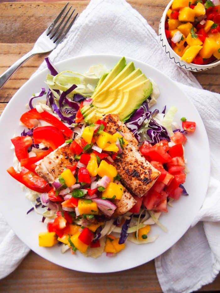 mango and avocado salad pan seared halloumi with spicy mango dressing ...