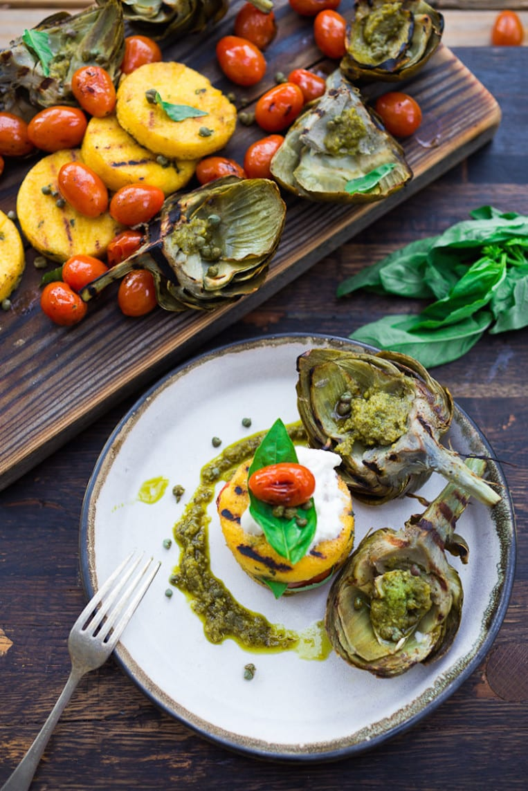 Grilled Artichokes and Polenta with Pesto and Blistered Tomatoes