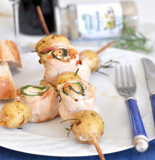Grilled Chicken, Pancetta, and Zucchini Wheels