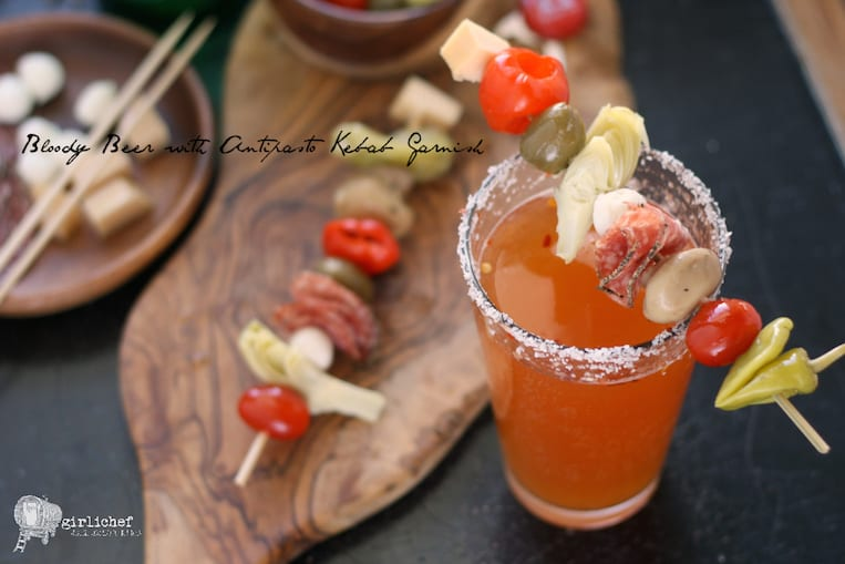 The Ultimate Bloody Mary Beer with Antipasto Skewer