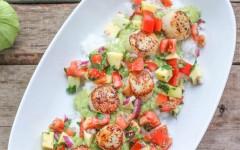 Cumin-Grilled-Scallops-with-Tomato-Mango-Salsa-Tomatillo-Guacamole-2