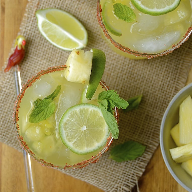 Pineapple Mojito with a Chili-Lime Rim