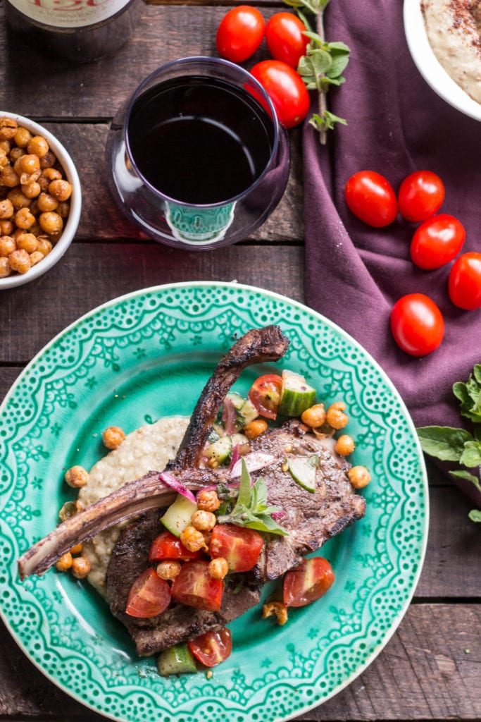 Grilled Lamb with Eggplant and Crispy Chickpeas