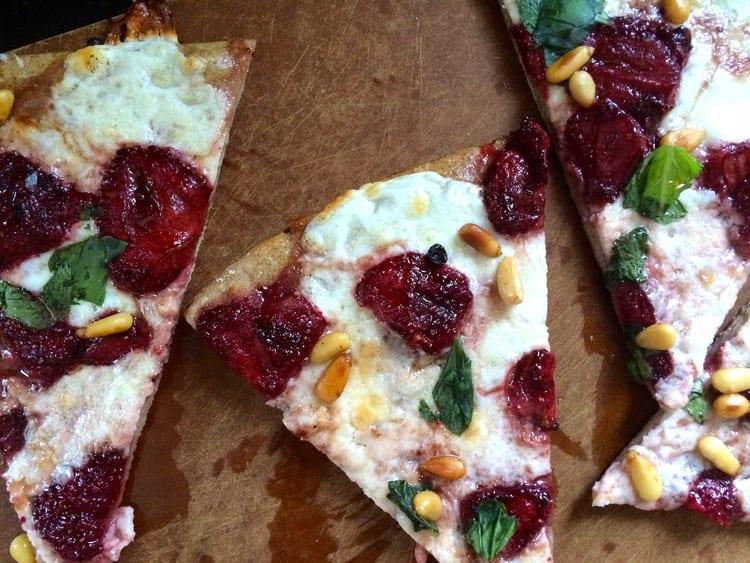 Mozzarella and Balsamic Roasted Strawberry Pizza