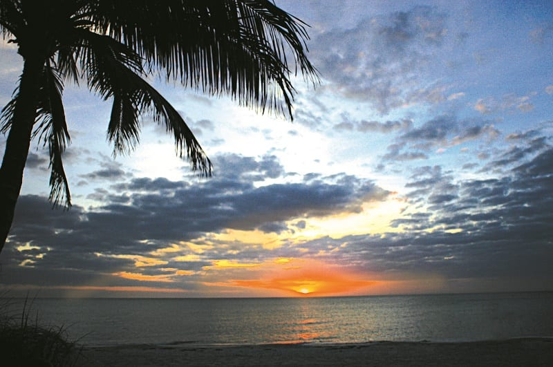 Sunset from the beach at Delnor-Wiggins Pass State Park in Naples