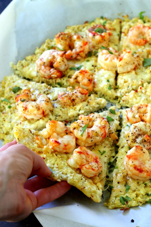Cauliflower Crust Shrimp Pizza