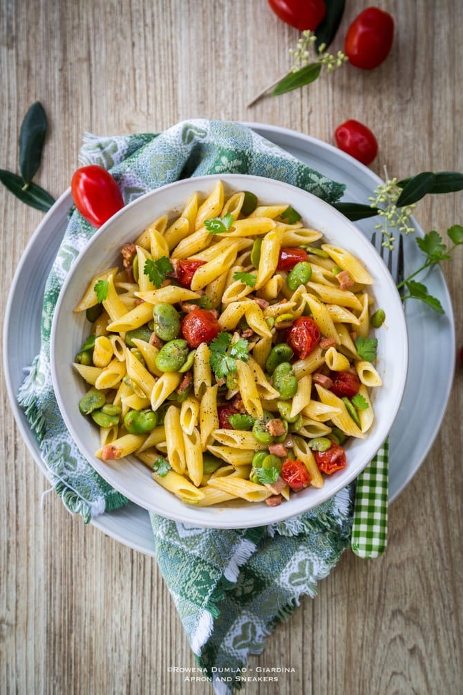 Fava, Pancetta, and Tomato Penne