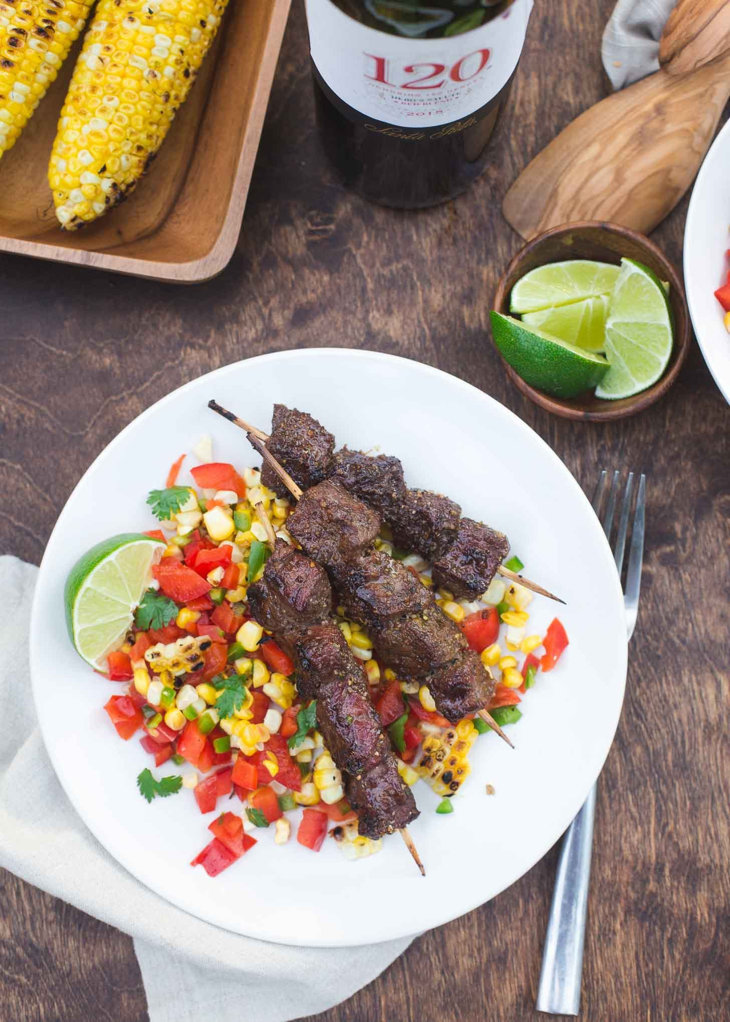 Chili Lime Beef and Charred Corn Salsa