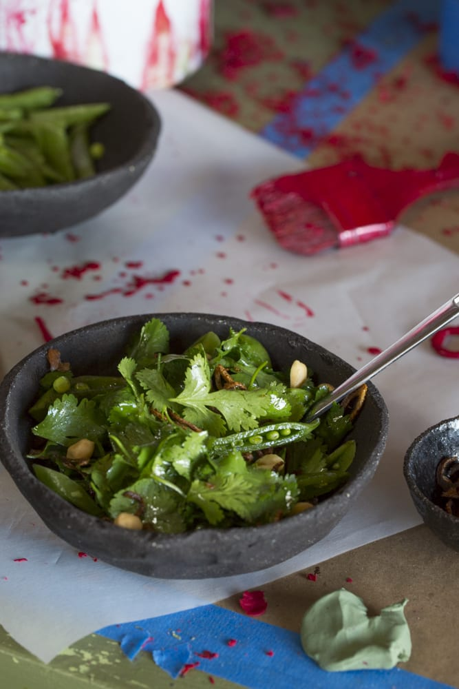 Cilantro and Snap Pea Salad with Peanuts and Fried Shallots