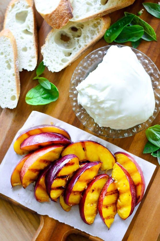 Grilled Nectarine and Burrata Crostini