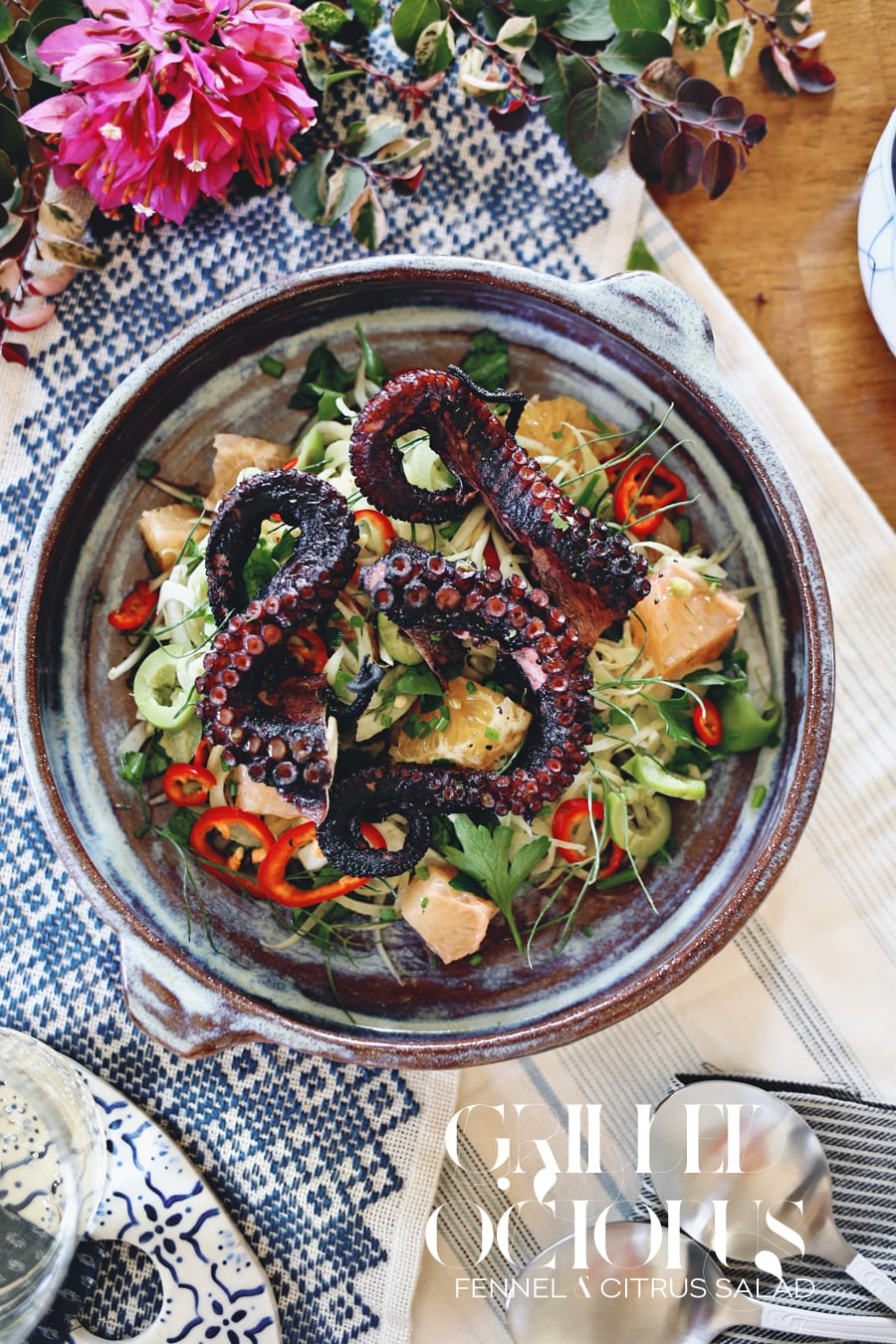 Charred octopus is tossed with fennel, a variety of citrus and a tangy ...