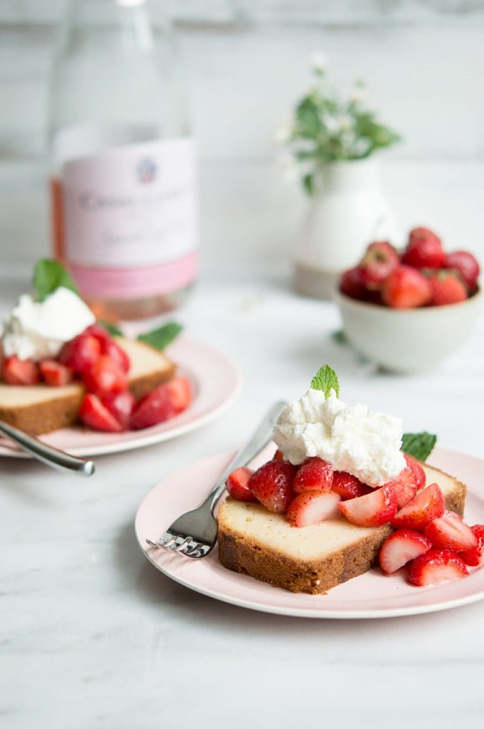light summer dessert of shortcake and strawberries is soaked in a ...