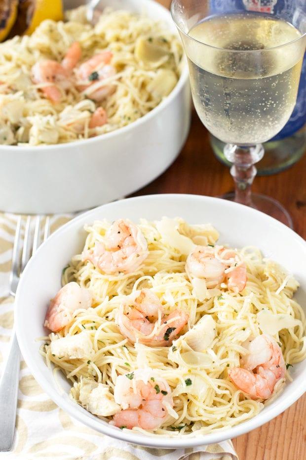 Lemon Artichoke and Shrimp Pasta