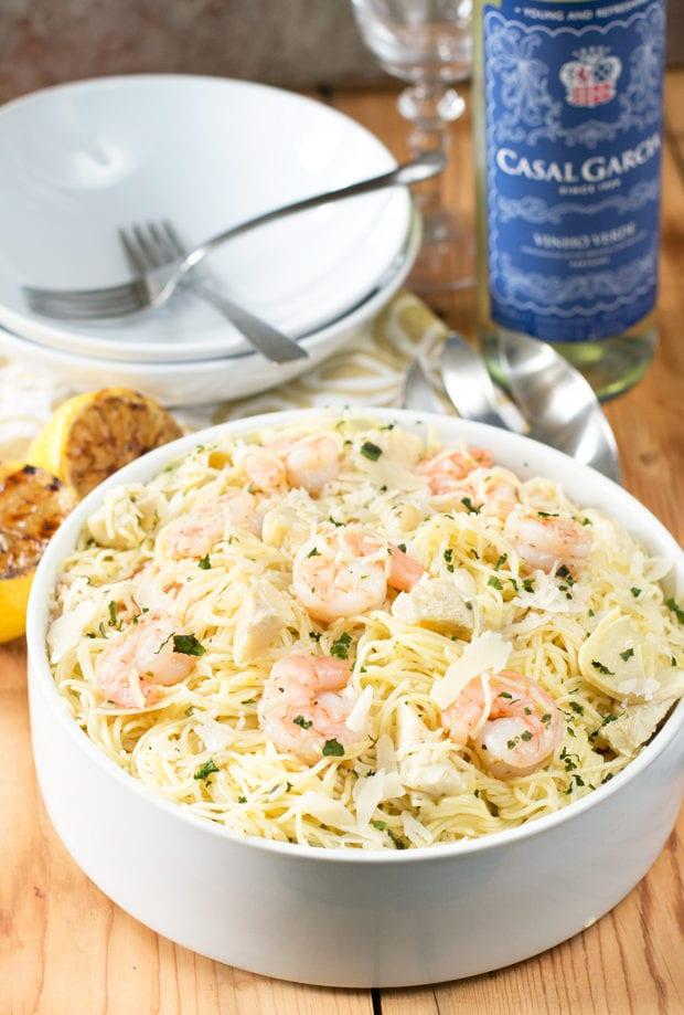 Lemon-Shrimp-Artichoke-Lemon Artichoke and Shrimp Pasta