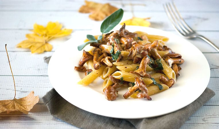 Bacon and Sage Pasta with Chanterelles