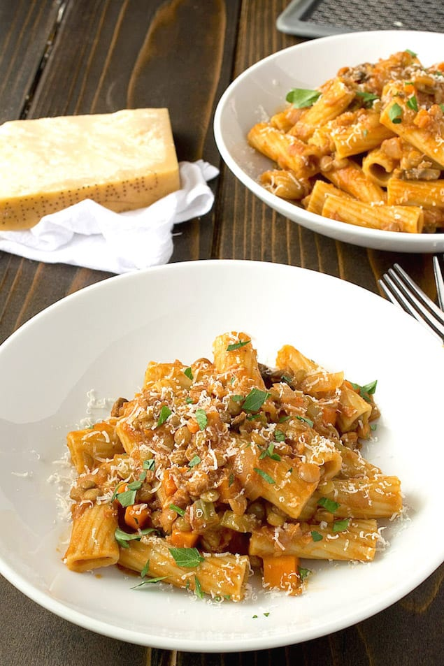 Sicilian Lentil and Mushroom Rigatoni