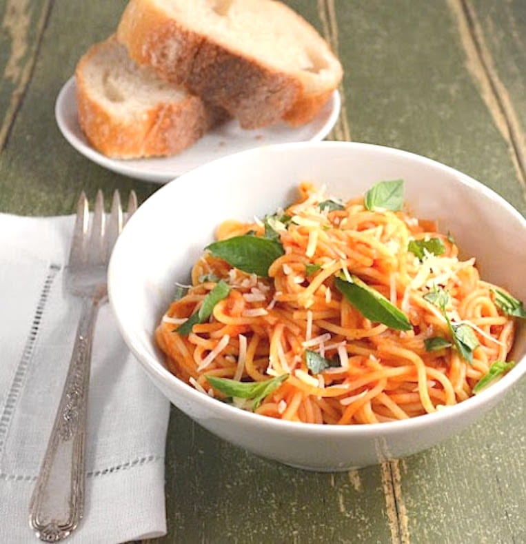 Pasta with a Light Tomato Cream Sauce is a simple yet classic ...