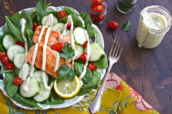 Salmon Spinach Salad and Herb Dressing