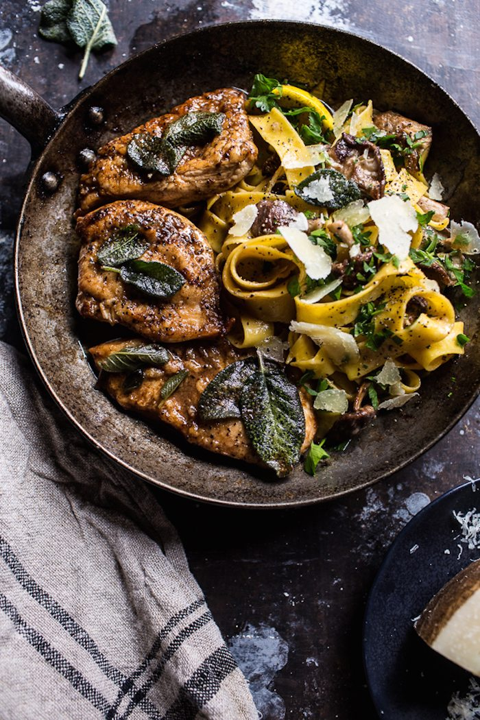 Browned-Sage-Butter-Chicken-Piccata-with-Mushroom-Pasta-1