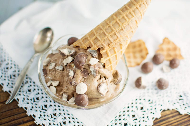 Creamy chocolate ice cream is loaded with malted milk powder and ...